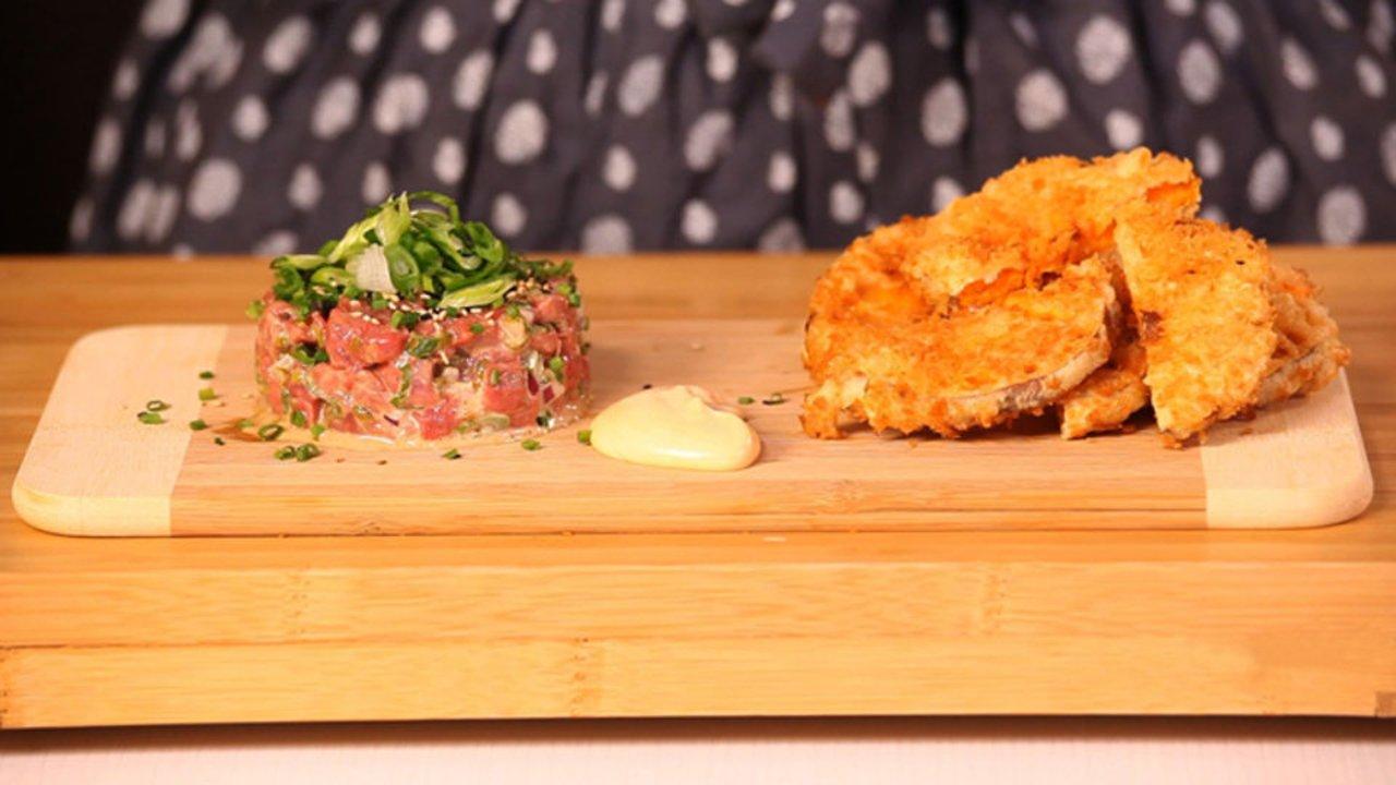 Ricardo > Tartare de bœuf et patates douces tempura