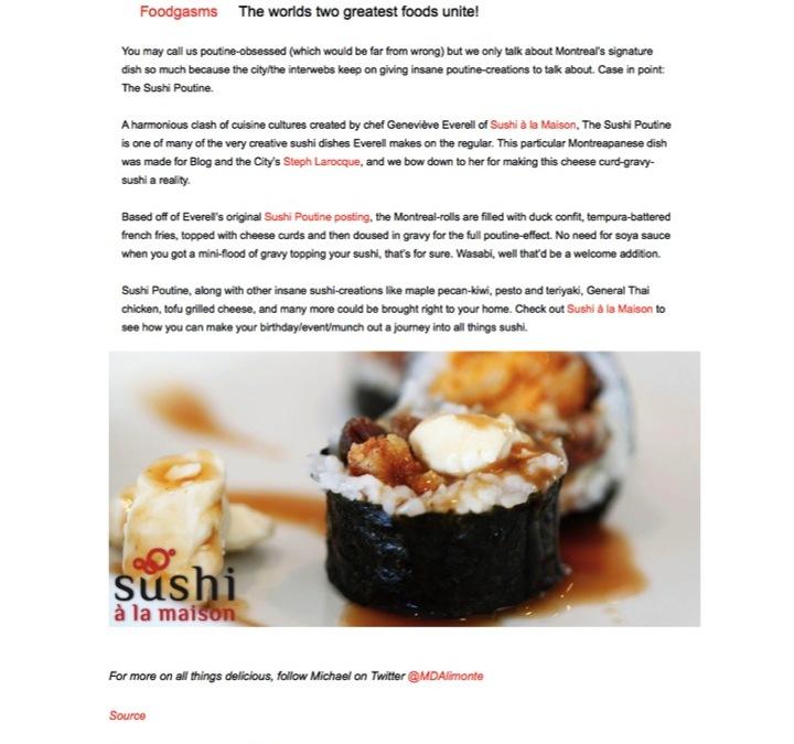 « The Sushi Poutine » sur MTL Blog
