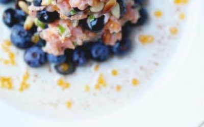 Tartare de saumon aux bleuets