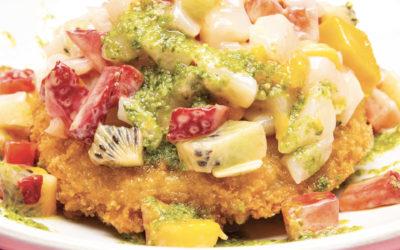 Pizza sushi pétoncles et fruits